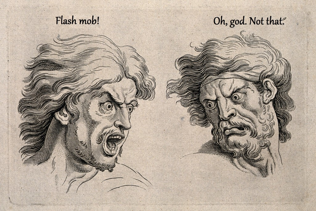 V0009326 A frightened and an angry face, left and right respectively. Credit: Wellcome Library, London. Wellcome Images images@wellcome.ac.uk http://wellcomeimages.org A frightened and an angry face, left and right respectively. Engraving, c. 1760, after C. Le Brun. By: Charles Le Brunafter: John TinneyPublished:  -  Copyrighted work available under Creative Commons Attribution only licence CC BY 4.0 http://creativecommons.org/licenses/by/4.0/